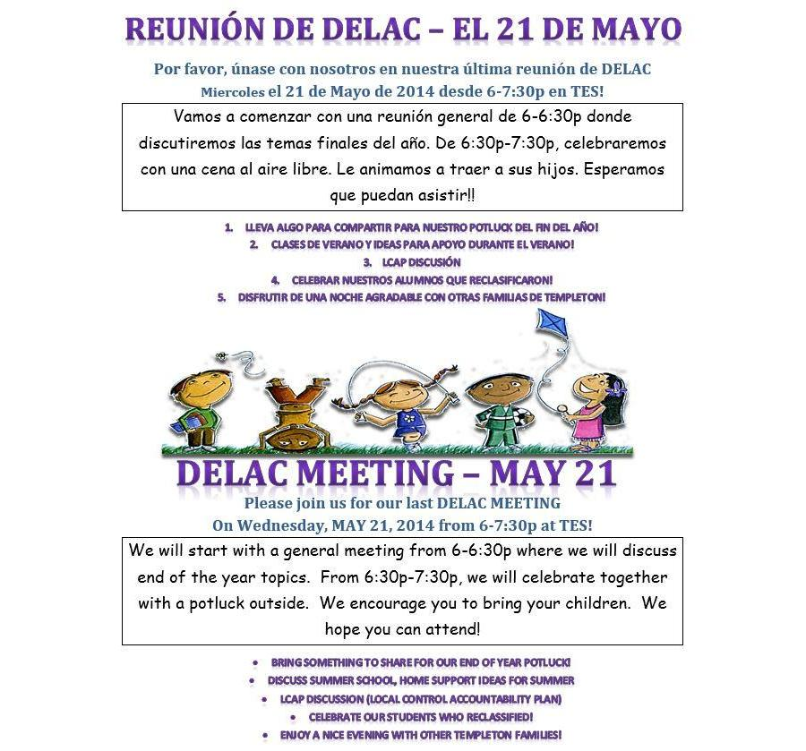 DELAC - Wednesday, May 21, 6-7:30p